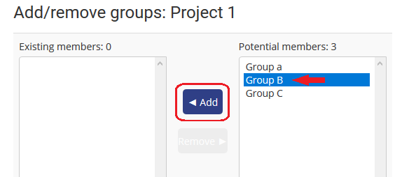 select group and click Add button