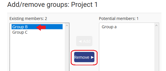 select group and click remove button