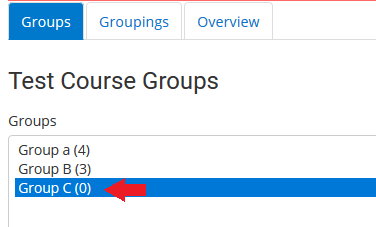 click on group in list