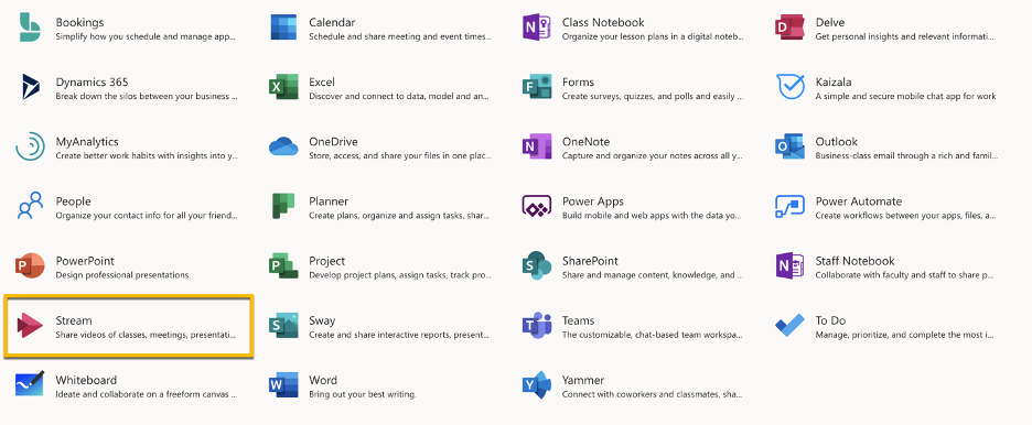 All office 365 apps
