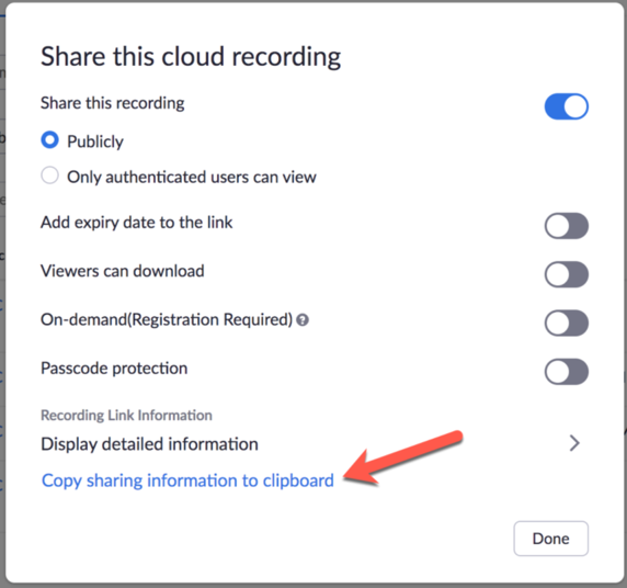 Share this cloud recording window