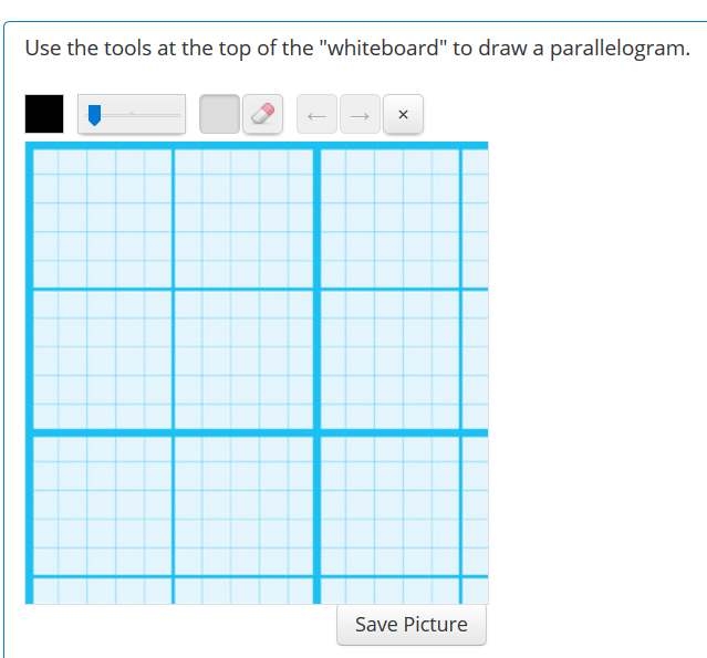 whiteboard question with a grid background