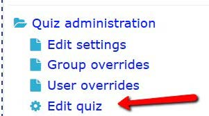 edit quiz link in the administration block