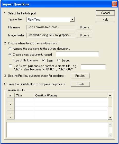 import questions dialog box