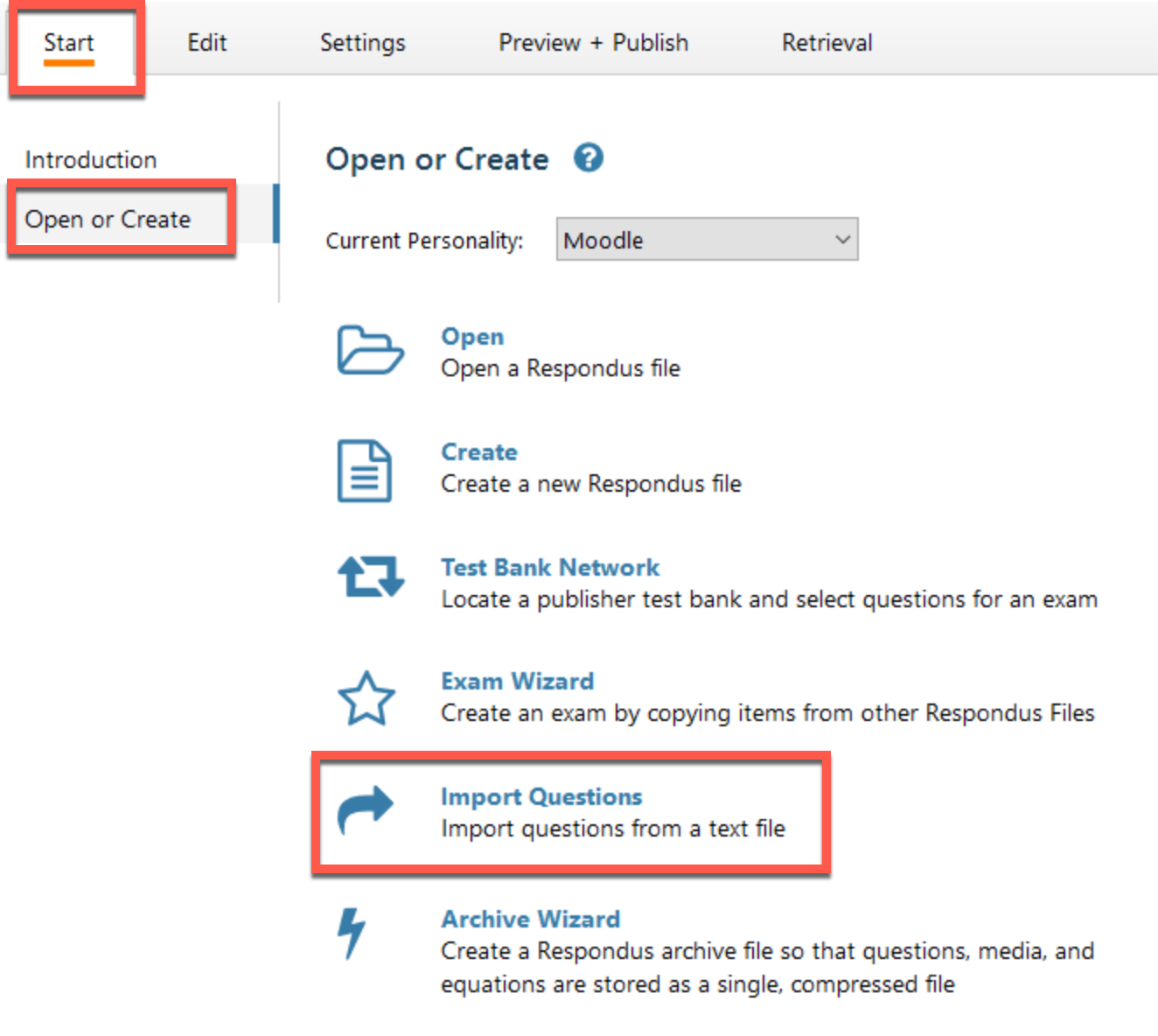 import option to upload quiz questions