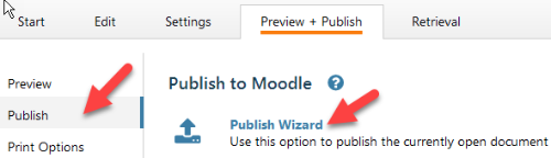 Select publish, then Publish to Moodle