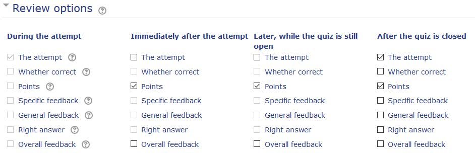 review options for quiz
