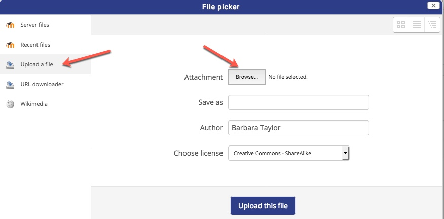 select upload a file then browse and locate the file on the computer