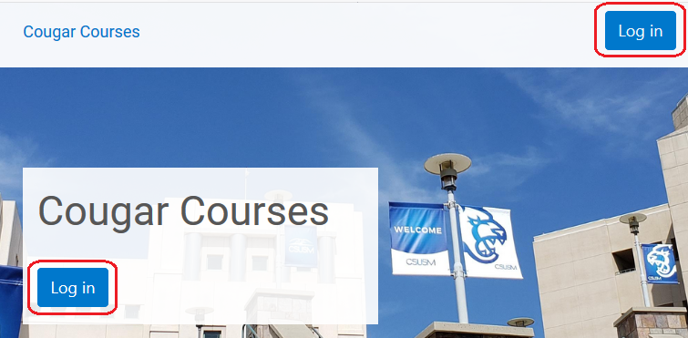 Cougar Courses homepage