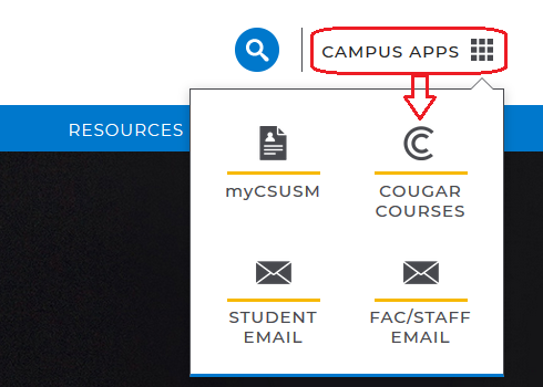 Cougar Courses link on CSUSM homepage