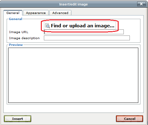 """Find or upload image"" button"