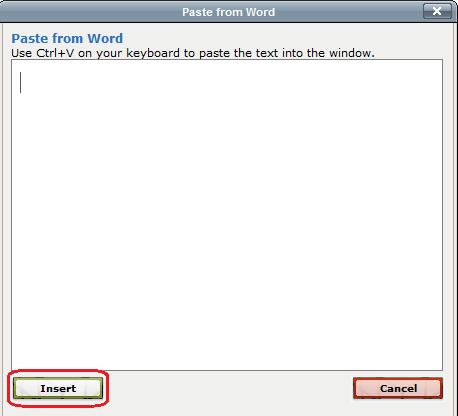 paste from word popup window