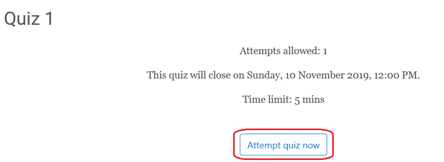 "quiz details page with ""attempt quiz now"" button"