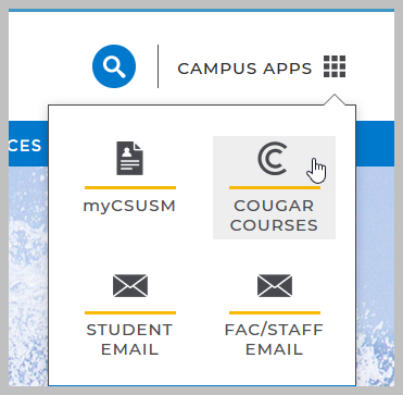 CSUSM homepage with Campus Apps dropdown