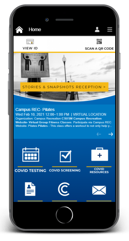 CSUSM app homepage with COVID content