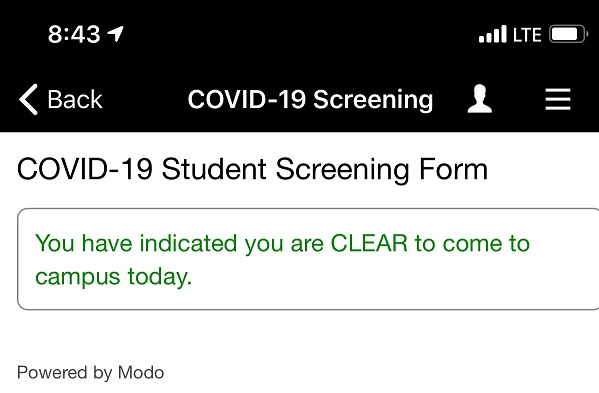 Covid screening form confirmation.