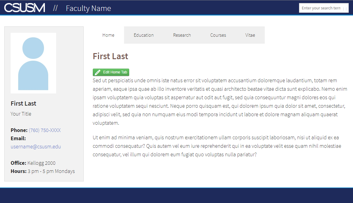 faculty template example