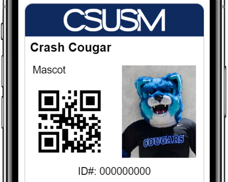 Campus ID photo example with Crash the Cougar