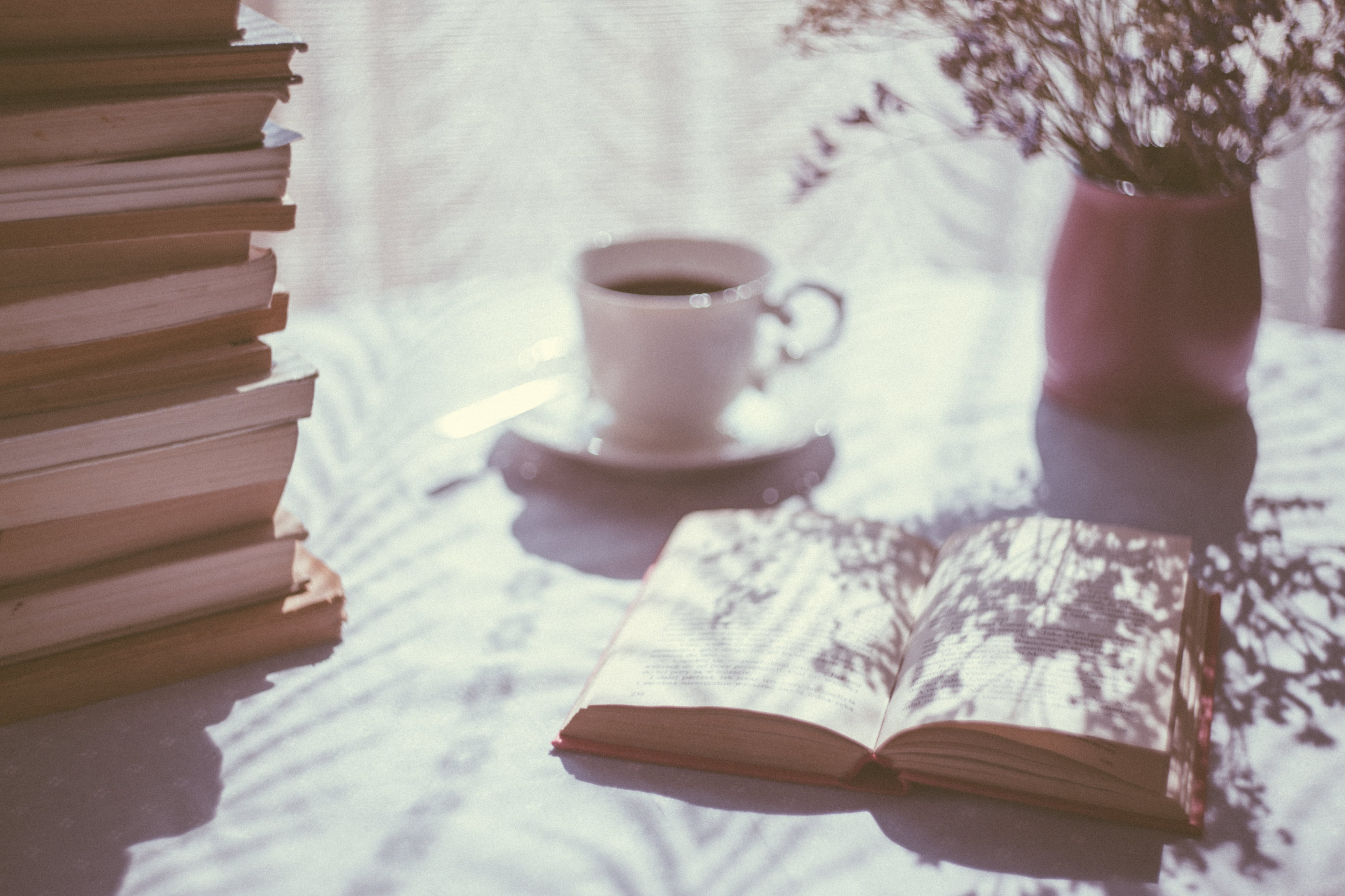 open book with coffee