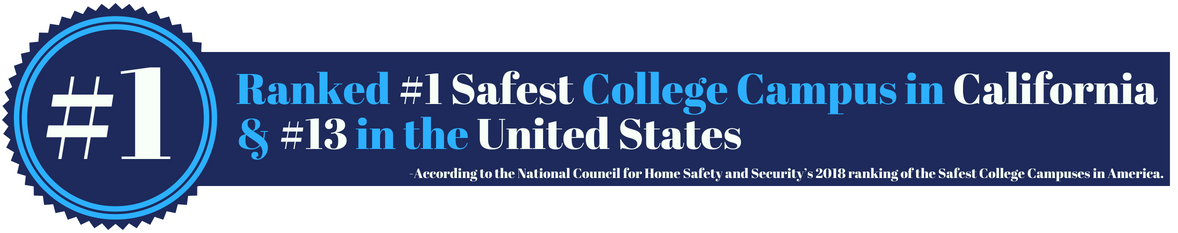CSUSM was ranked #1 safest college campus in California and #13 in the United States