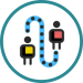people on dotted path icon