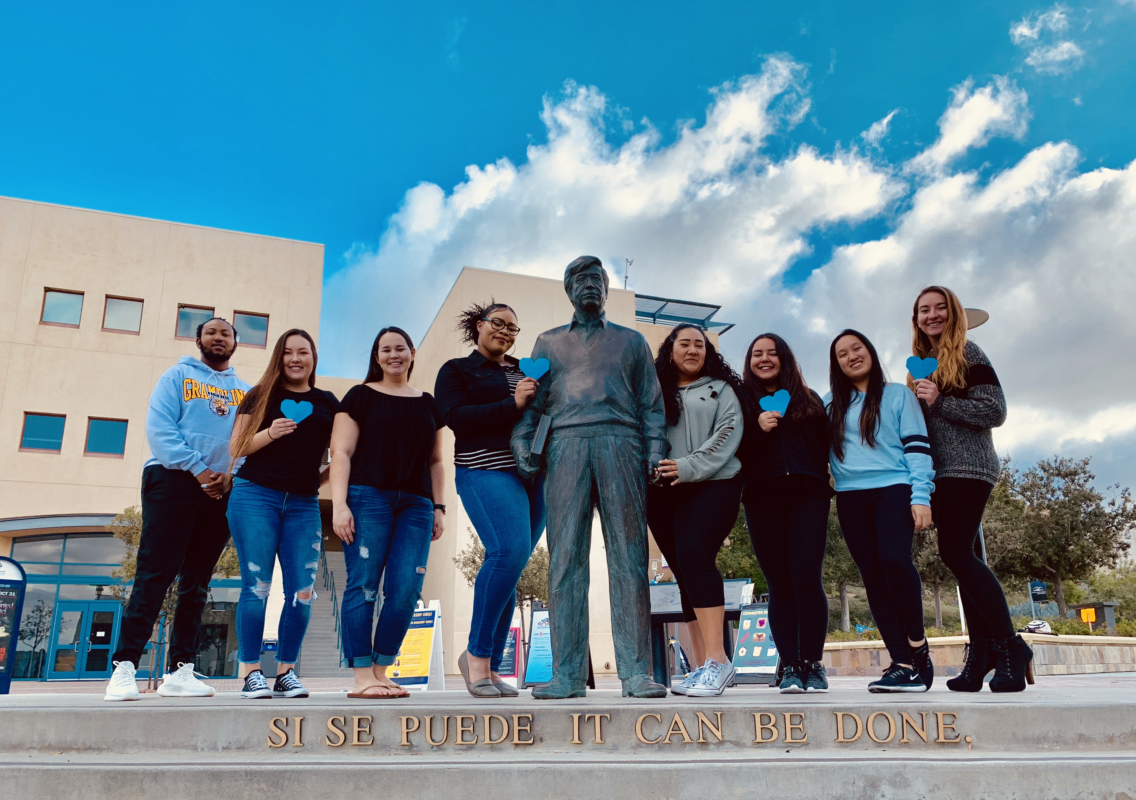 Students at the Chavez Statue