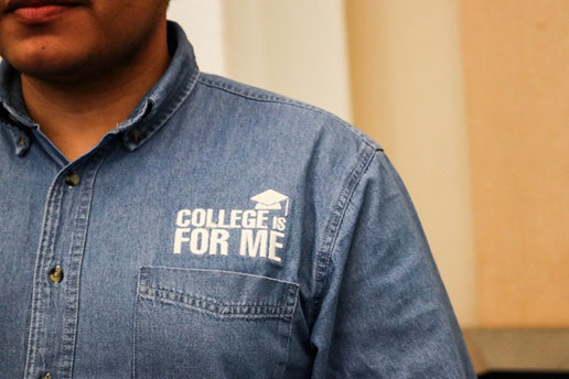 Counselor with a 'College is for me' shirt