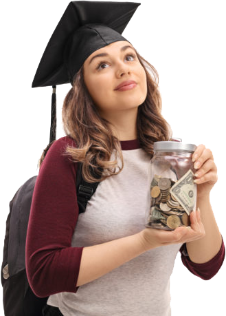 Student in graduate cap with money jar
