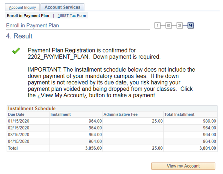 screenshot - confirmation of payment plan registration