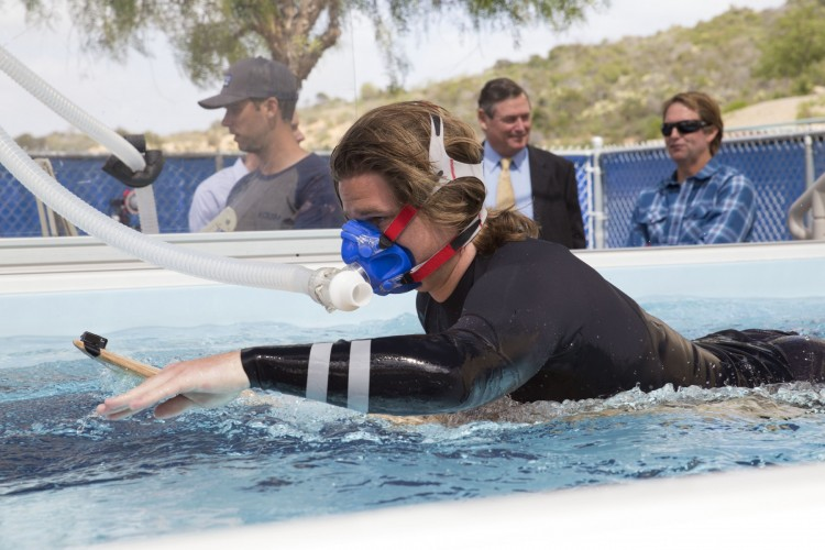 Chancellor White paid visit to outdoor surf laboratory